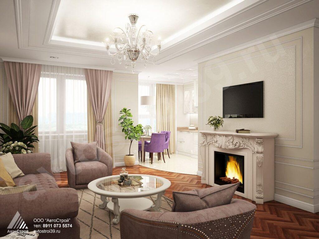 дизайн квартиры в стиле современной классики г. Калининград