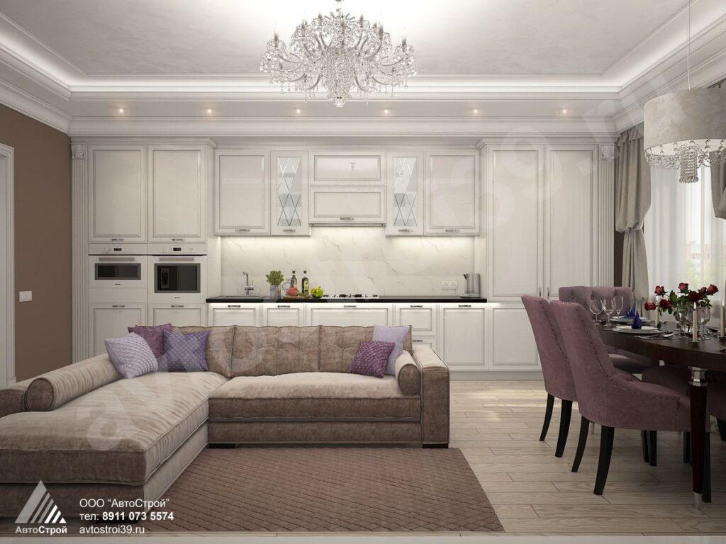 дизайн интерьера квартиры в стиле современной классики Калининград