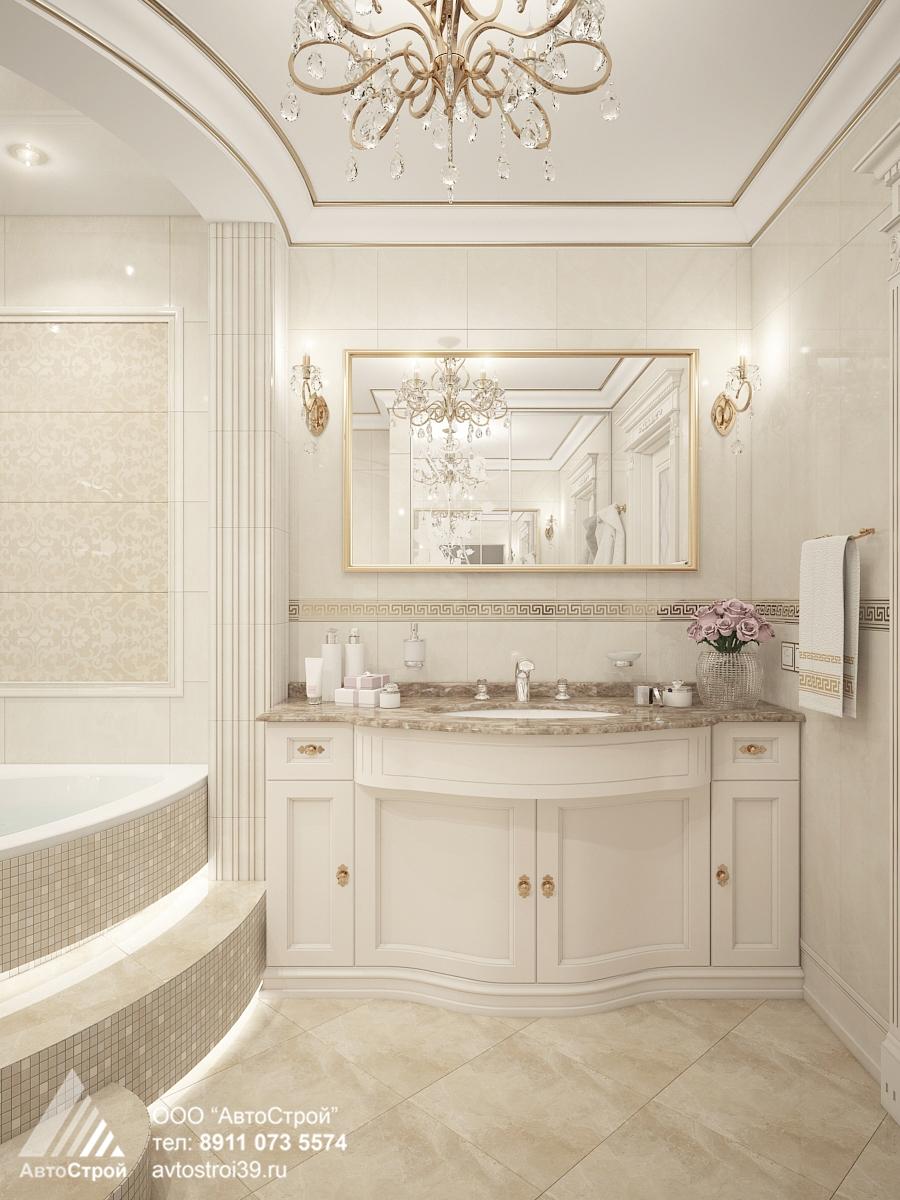 дизайн интерьера ванной в классическом стиле Калининград