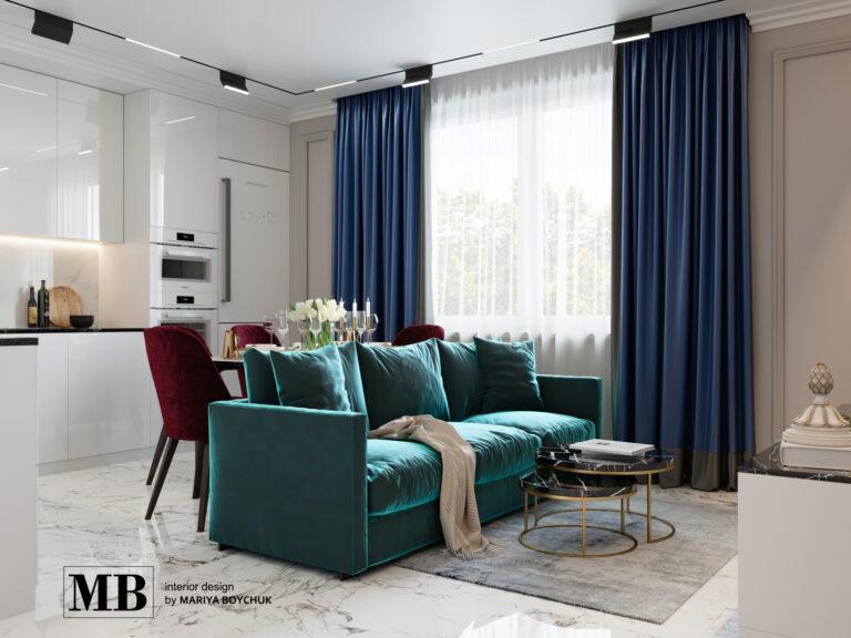 дизайн квартиры в стиле современной классики в г. Калининград