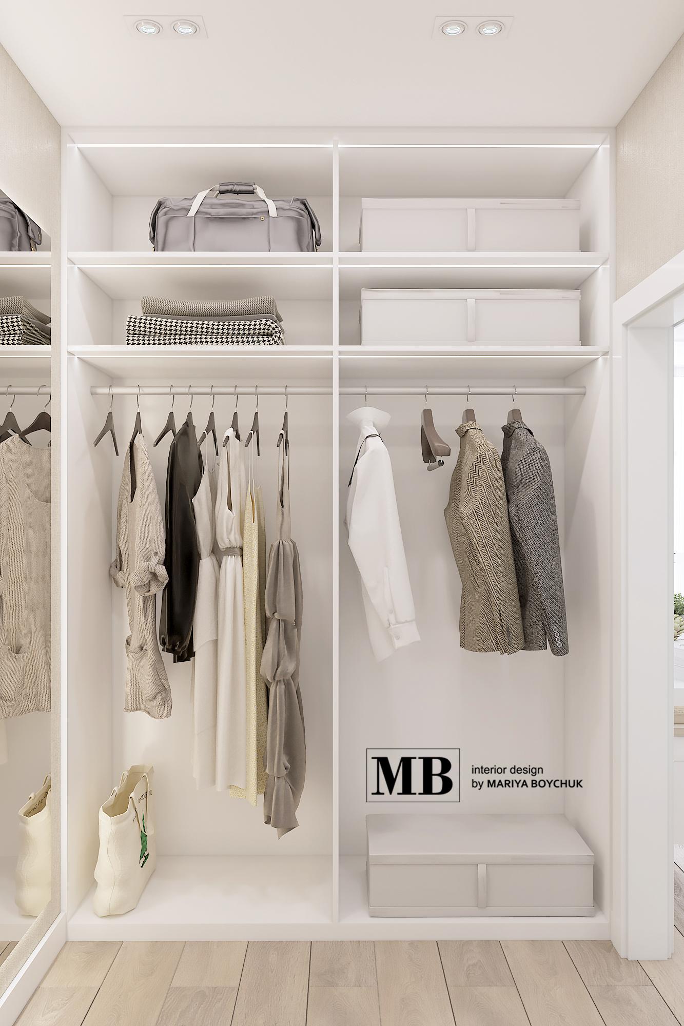 дизайн гардеробной комнаты в квартире в г. Калининград