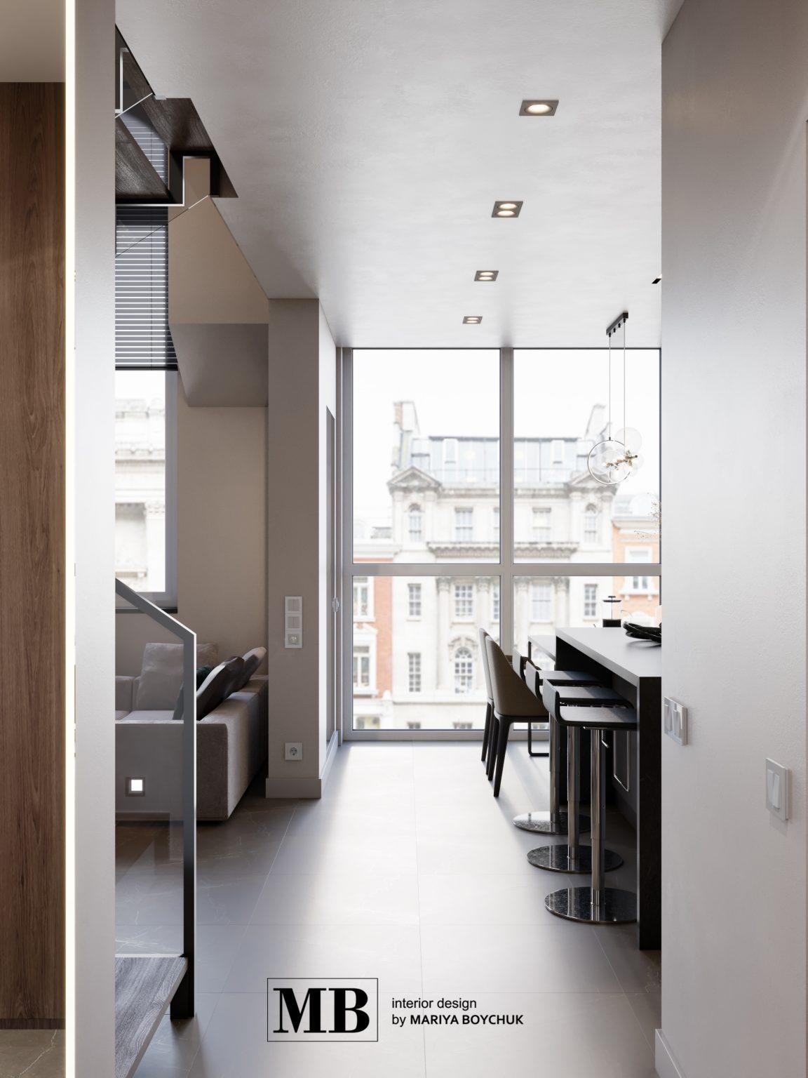 дизайн двухуровневой квартиры в современном стиле в Калининграде
